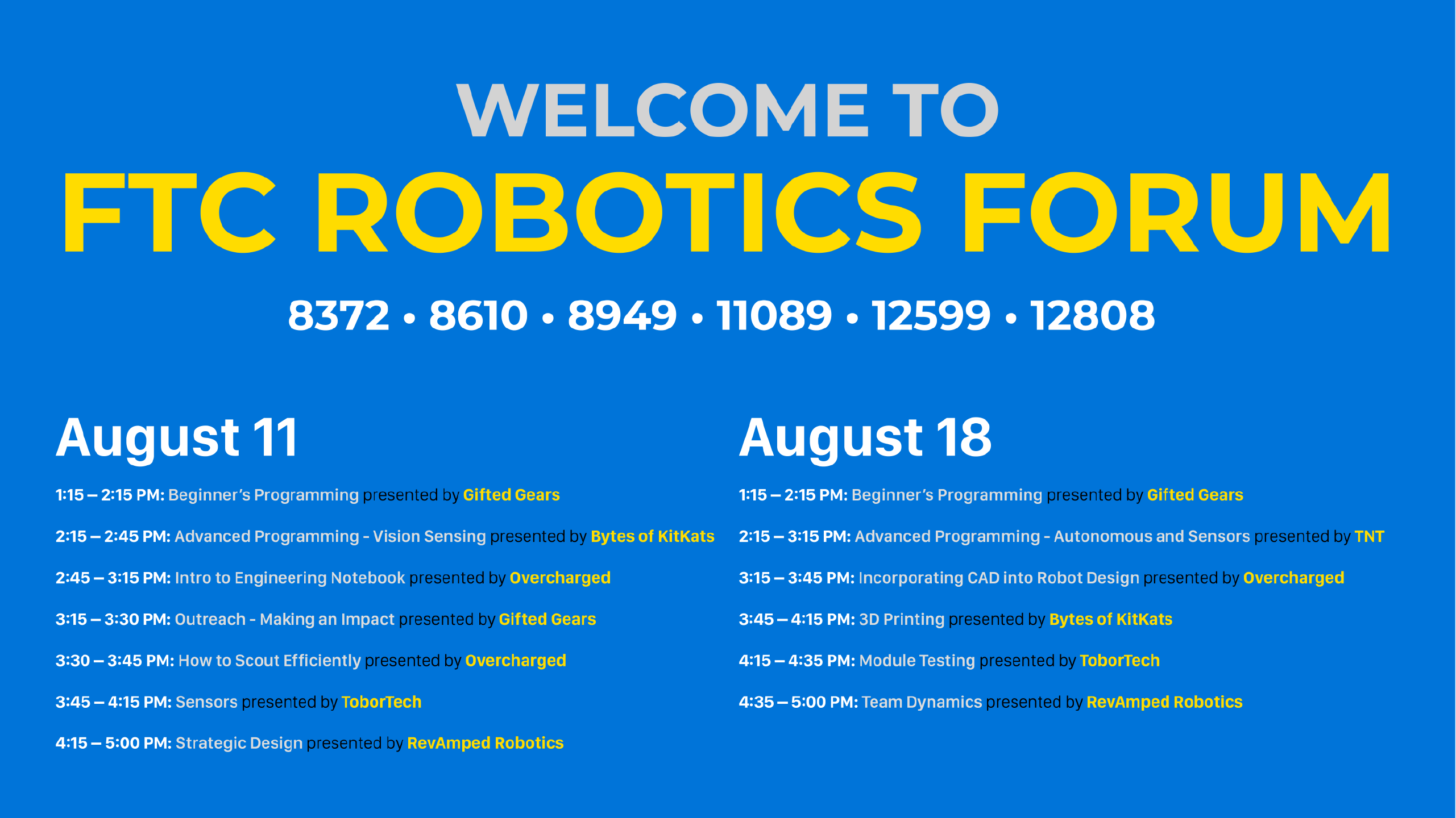 FTC Robotics Forum